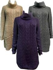 UK High St Chunky Cable Knit Funnel Neck Long Sleeve Jumper Tunic Knitted Dress