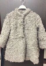 Designer's Style Faux Fur Shearling Ruffle  Black Beige or White Jacket Coat