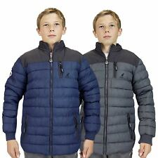 Kids Kangol Padded Jacket Funnel Neck Patches Lined Bubble Puffer Winter Coat