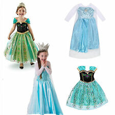Kids Girls Fairy Costume Queen Ice Princess Party Gown Dress Cosplay
