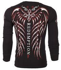 Archaic AFFLICTION Mens THERMAL T-Shirt SPINE WINGS Tattoo Biker UFC M-3XL $58