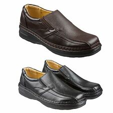 Mens Clarks Style Slip On Leather Shoes Size 6 to 11 UK BLACK or BROWN - 009