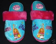 HANNAH MONTANA DISNEY Blue & Pink Plush Slippers NEW Girls/Youth Size 2/3  $16