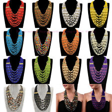 Fashion Chain MultiLayers Resin Seed Beads Cluster Choker Statement Bib Necklace