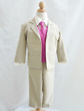 Boy Khaki/ivory red burgundy fuchsia coral vest long/bow tie formal party suit