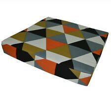 ak335t Grey Orange Olive Brown Triangle Cotton Canvas 3D Box Seat Cushion Cover