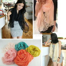 Fashion Women Lady Chiffon Soft Lace Scarves Shawl Neck Wrap Stole Flower Scarf