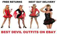 Ladies Devil Costume Halloween Womans Fancy Dress Red Sexy New Red Devil Outfit