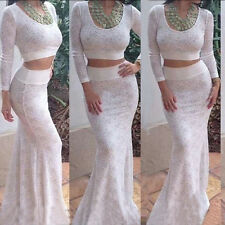 Stylish Women Two Piece Bandage Bodycon Evening Sexy Party Cocktail Lace Dress