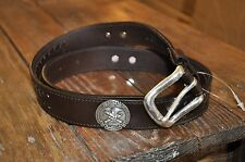 LEATHER BELT - NRA National Rifle - Youth - Brown - Girls Kids Boys Western