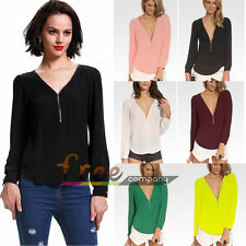 Sexy Mode col V Femme Tops Chemise à manches longues Casual T-shirt Blouse Hauts
