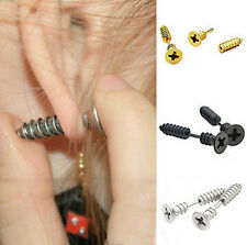 1 Pair Fashion Unisex Womens Mens Stainless Steel Whole Screw Stud Earrings