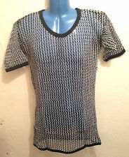 Mens String T-Shirt, 100% Cotton Fishnet Mesh Tank Top