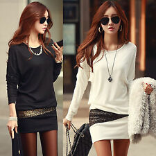 Sexy Winter Women Long Sleeve   Crew Neck Slim Bottoming MINI Dress Party Club