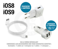 Cable USB Chargeur Secteur Chargeur Voiture pour iPHONE 6 - iPHONE 5S - iPHONE 5
