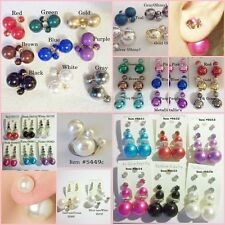 Double Side Stud Ball Faux Pearl + Colors,Shiny Tribal Inspired Trendy Earrings