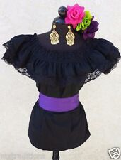 Mexican Black Adelita Blouse On/Off Shoulder w/Small Purple Sash. Blusa Adelita