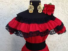 Mexican Red Adelita Blouse On/Off Shoulder w/Small Black Sash. Blusa Adelita