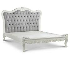 Jolie French Provincial Chic Bed in White & Grey Velvet - AFFORDABLE LUXURY!