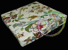 ai05t Lily Red Ocean Blue Green Lime Pink on Cream Cotton 3D Box Seat Cover