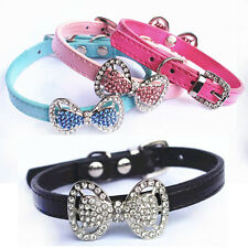 Dog Pet Cat Puppy Pu Leather Collar with Bling Rhinestone Bowknot XS,S Bow Gift