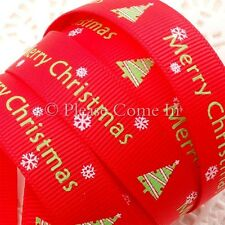 """Grosgrain Ribbon 16mm 5/8"""" Merry Christmas with Christmas Tree in Red"""