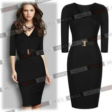 Womens Black Peplum Winter Casual Vintage Cocktail Party Pencil Bodycon Dresses