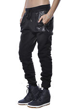 Joggers PU Leather Quilted Zipper Hip Hop Rapper Fashion Sweatpants Womens Pants