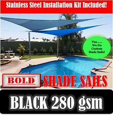 4x5 Metre Black Rectangle  Shade Sail with Stainless Steel GR316 Mounting Kit