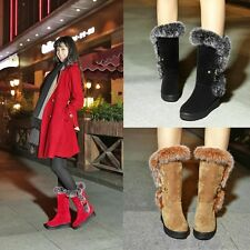 Casual Winter Suede rabbit Fur Platform Round Toe Mid-calf Women Boots Shoes 015