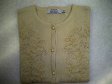 Ladies Cream / Beige Embroidery Knit Cardigan - Button Up  - New with Tags