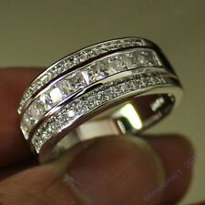 Size 8-13 NICE Mens Band Jewelry White Sapphire 10KT White Gold Filled HI-Q Ring