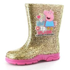 Girls Size 4 - 10 Gold Glitzy PEPPA PIG Wellies Shoes Wellington Boots Welly