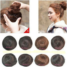 Women Girl Straight Clip-on Synthetic Elastic Contract Dish Hair Buns Tail Wigs