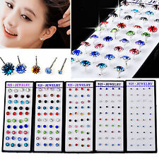 Wholesale 40pcs Lot Mixed Color Crystal Ear Stud 925 Sterling silver P Earrings