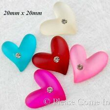 Kawaii Flat Back Resin Heart with Rhinestone (III) Cabochon Decoden Charm