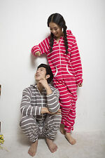 Warm Adult Unisex Women Men Footed Pajamas Sleepsuit Couple Sleepwear S M L