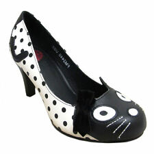 Womens TUK Polka Dot White/Black 50's Kitty Shoes Anti Pop Heels Sizes 3 - 8