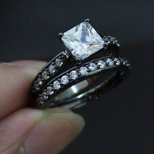 Jewelry 18K Black Gold Filled White Sapphire Ladys Couple Ring Set Size 6-10