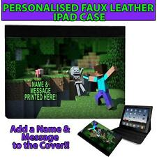 PERSONALISED CREEPER STEVE CRAFT UNOFFICAL GAMER IPAD, MINI, AIR CASE GIFT ST439