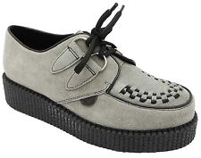 Underground Wulfrun Adults Grey Suede Lace Up Thick Sole Creeper Sneakers New