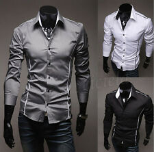Fashion Mens Luxury Long Sleeve Casual Slim Fit Stylish Dress Shirts 3 Color HOT