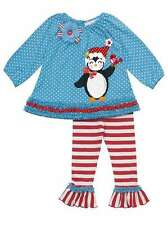 Rare Editions Blue Penguin Christmas Holiday Outfit Sz. 2T, 3T, 5, 6, 6X