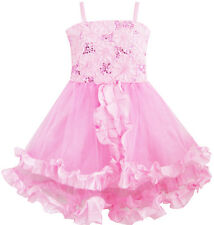 Flower Girl Dress Tank Embroidered Pink Flower Trimmed Wedding Size 4-10 Pageant