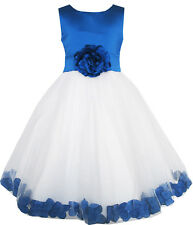 Flower Girl Dress Blue Flower Tulle Wedding Pageant Bridesmaid Size 2-14 Formal