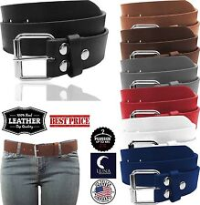 NEW Women's Thick Wide Leather Removable Silver Buckle Solid Color Fashion Belt