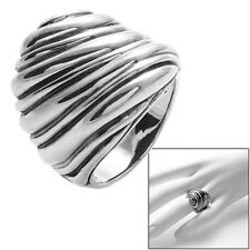 925 Sterling Silver Intricate Carved Rock Wall Design Ring Size 5-9
