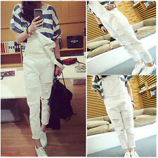 Women Girl White Jeans Ripped Washed Denim Fashion Jumpsuit Destroyed Overall