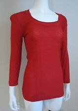 NWT Cristina V SCOOPNECK MEDIUM SHIRT TOP BLOUSE True RED RAYON $68 size M or L