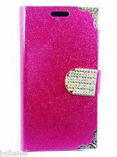 Glitter Book Flip Wallet Back Case Cover For Samsung Galaxy iPhones Sony Xperia